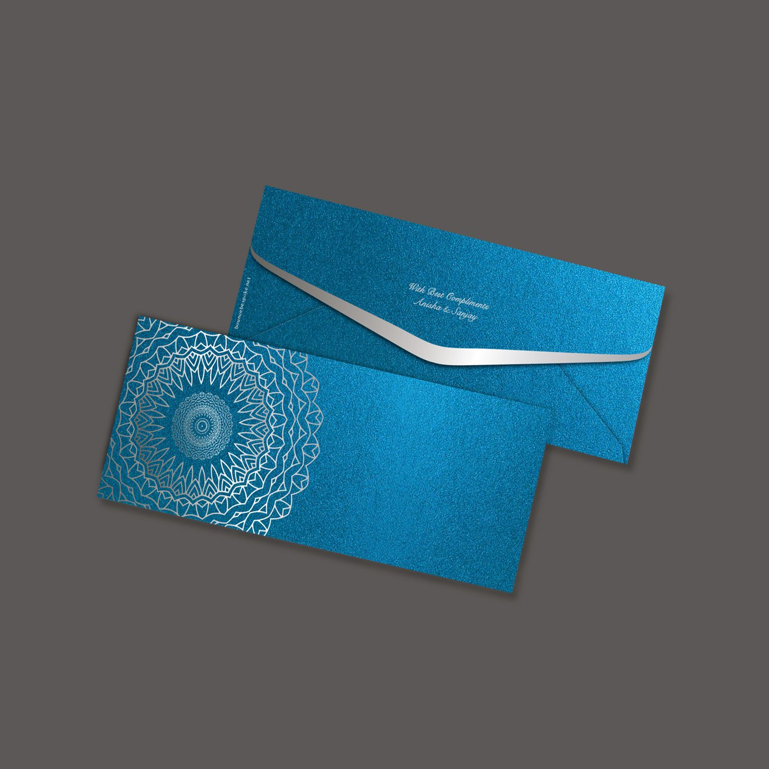 Floral Ripple Peacock Blue Gift Envelope